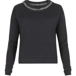All Saints ITA Cropped Sweater With Chain Collar